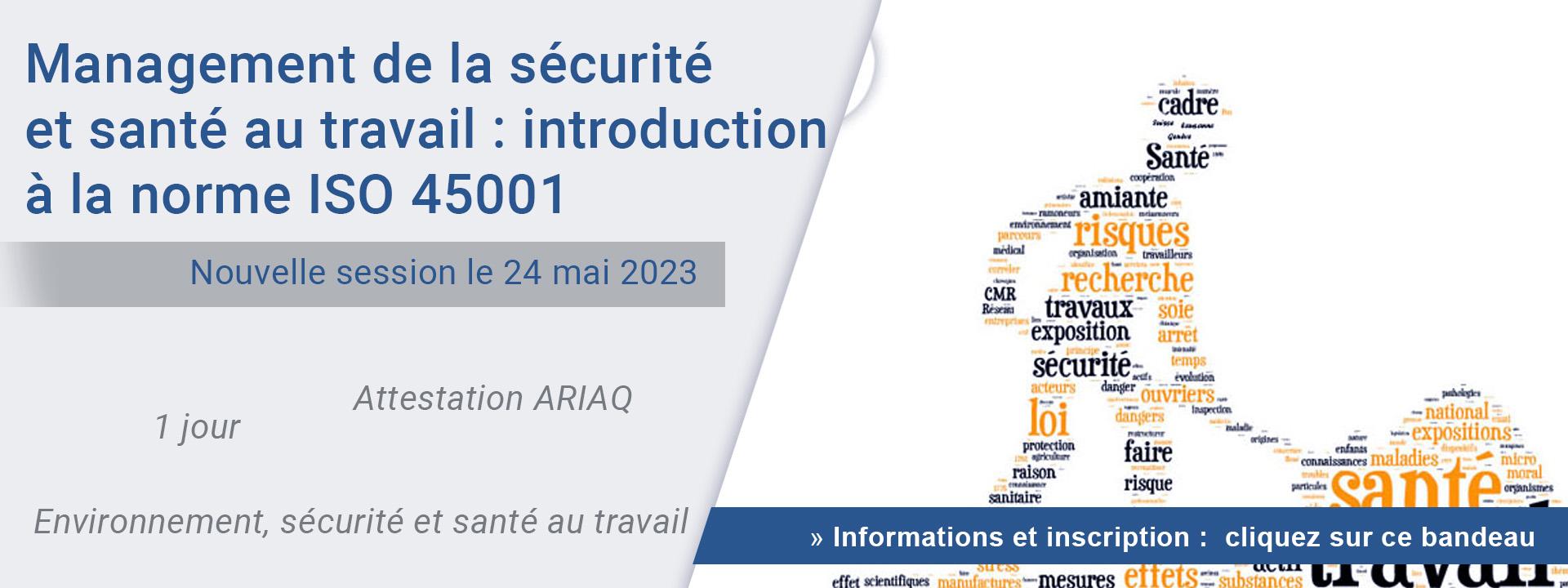 Management de la sécurité et santé au travail : introduction à la norme ISO 45001